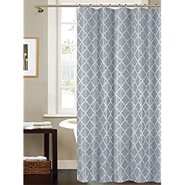 Ruthy's Textile Jacquard Shower Curtain 70  X 72  w/ 12 Roller Hooks -Blue