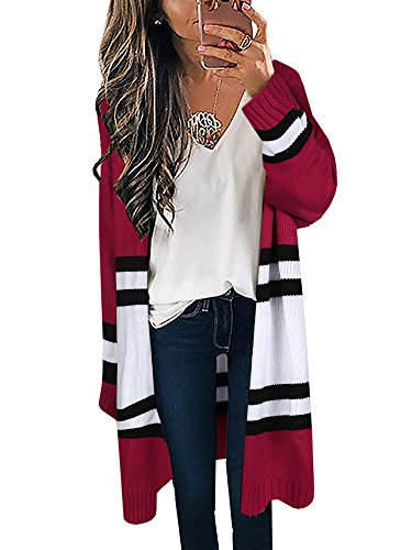 Yellow Stripe Sweater - SUNMMWERY Womens Long Cardigans Yellow Color Block Open Front Long Sleeve Kint Cardigan Sweaters (Small, Red-A)