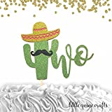 1 pc two mustache sombrero cactus cacti cake topper green glitter fiesta festive party theme second birthday boy girl spring summer