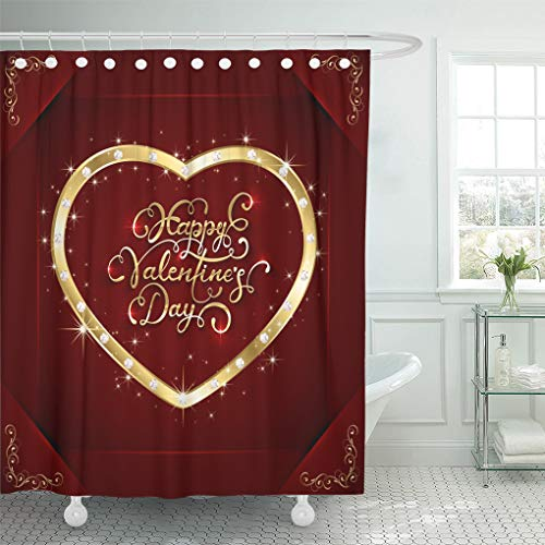 Emvency Shower Curtain Abstract Gold Heart Diamonds and Lettering Happy Valentines Day Shower Curtains Sets with Hooks 60 x 72 Inches Waterproof Polyester Fabric