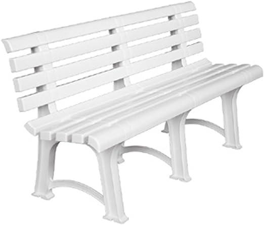 SIBrand Evergreen Banco de resina blanca 150 x 39 cm Jardín Balcón Terraza eg55184: Amazon.es: Jardín