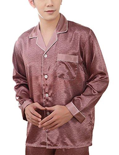 Yiwa Mens Luxury Charmeuse Pajama Thread Decoration Sleepwear Suit by Yiwa (Image #4)