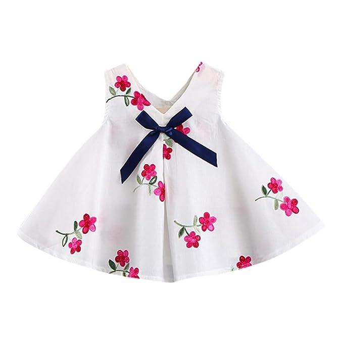 PAOLIAN Vestidos para Bebe niñas Verano 2018 Fiestas Conjuntos Bowknot Embroidered de Floral y Sandía Sin
