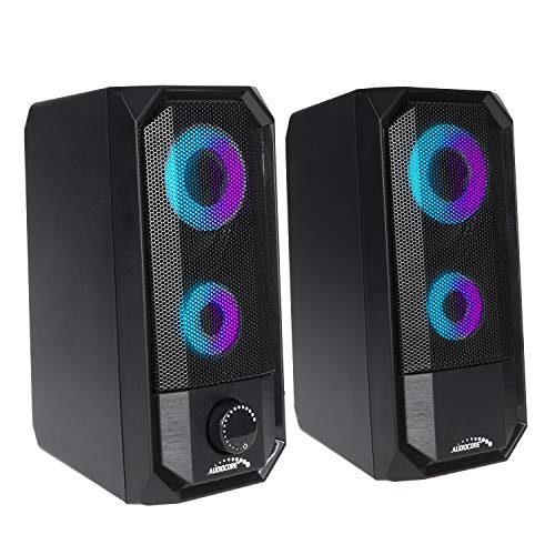 Audiocore AC845 Bluetooth LED-achtergrondverlichting, stereo pc-luidspreker, 10 W RMS USB-voeding, compact, zwart
