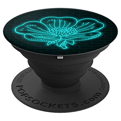 Blue Neon Rose Brick Neon Pattern Light Blue Floral Flowers - PopSockets Grip and Stand for Phones and Tablets ()