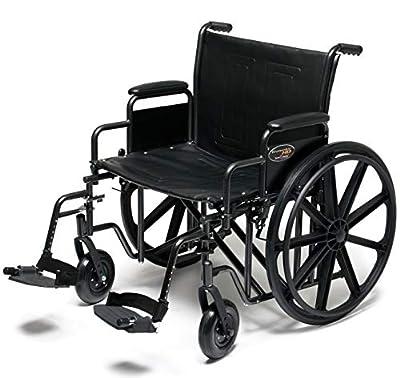 "Everest & Jennings Traveler HD Wheelchair, Detachable Desk Arms & Elevating Legrests, 22"" Seat, Silvervein Color"