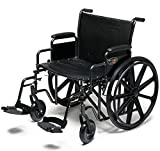 Everest & Jennings Traveler HD Wheelchair, Detachable Desk Arms & Swingaway Footrests, 24