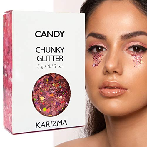 Candy Chunky Glitter ✮ COSMETIC GLITTER KARIZMA ✮ Festival Beauty Makeup Face Body Hair Nails ()