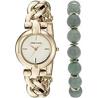 Anne Klein Women's AK/2836JADE Gold-Tone Watch and Gemstone Beaded Bracelet Set