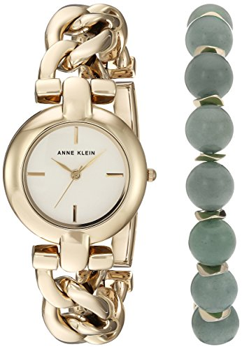 Anne Klein Women's AK/2836JADE Gold-Tone Watch and Gemstone Beaded Bracelet Set