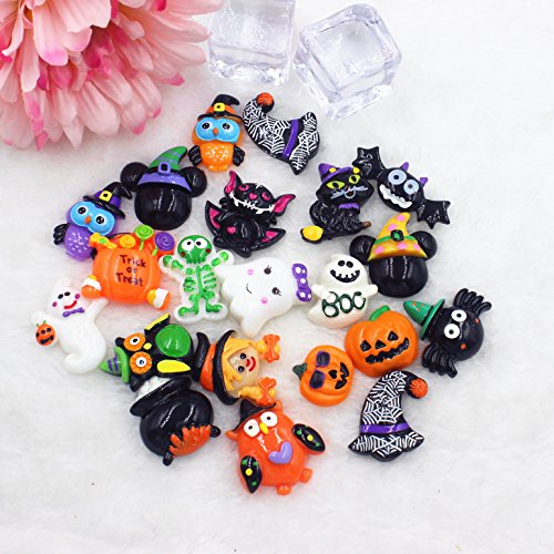 100 PCS Halloween Theme Resin Flatback Cabochons,Resin Flatback Embellishments for Craft Making, Pumpkin Jack-o'-lantern, Witch Hat, Skull, Witch Besom, Skeleton, Ghost, Spider Web, Witch (How Do You Make A Halloween Ghost)