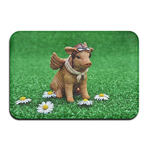 Yangaaaa Piggy Statue Beside Daisy Flower Outdoor Rubber Mat Front Door Mats Porch Garage Large Flow Slip Entry Carpet Standard Rug Home 23.62