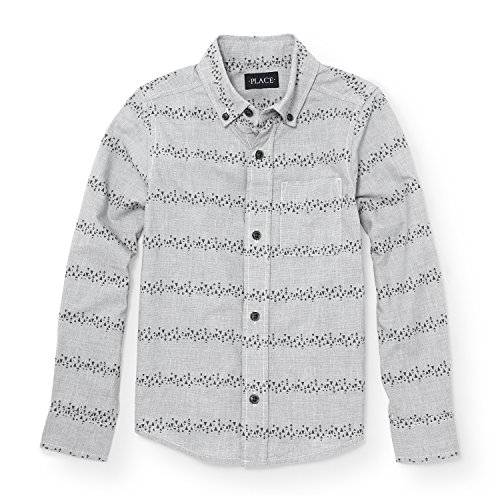 Printed Long Sleeve Woven Shirt (The Children's Place Big Boys' Long Sleeve Gray Printed Woven, Graystone 88194, L (10/12))