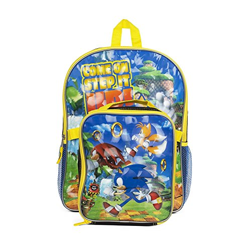 Sonic The Hedgehog Boys School Backpack Lunchbox Book Bag Combo SET