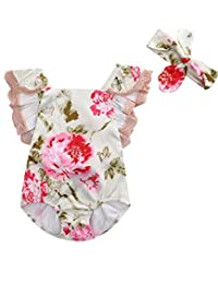 Newborn Baby Girl Lace Floral Bodysuit Romper Jumpsuit + Headband Clothes Outfit