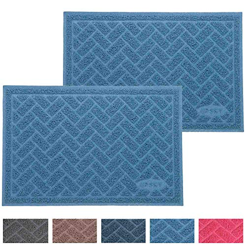 UPSKY Double Large Cat Litter Mat (24'' x 16'' x 2 Pieces), Premium Traps Litter from Box and Paws, Scatter Control for Litter Box, Soft on Sensitive Kitty Paws, Easy to Clean, Durable - Set of 2