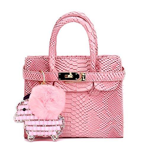 Set Purse Accessory (CMK Trendy Kids Colorful Python Grain Kids Crossbody Handbags for Girls with Little Rhinestone Sheep (80013_Pink))