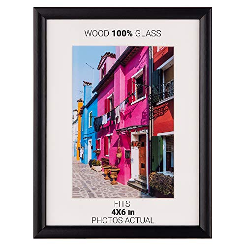 Picture Frame Photo Frames Size Fits 4x6 inch Photos.Picture Frame Black Made of Solid Wood Glass Ready to Hang The Frame on The Wall or Put on Desktop Horizontal Vertical.6x8 4x6 3.5x5