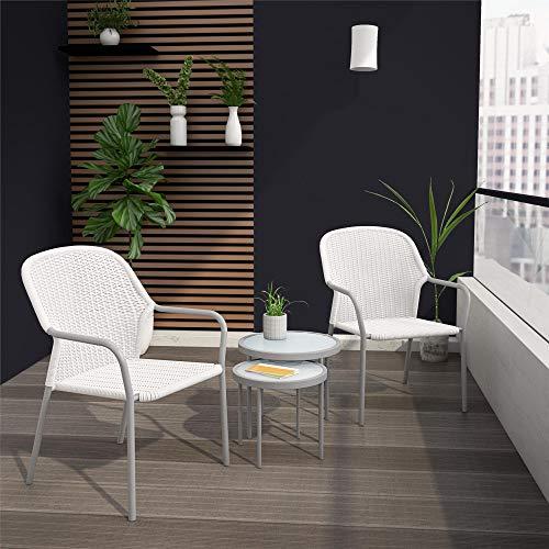 CosmoLiving by Cosmopolitan 88263WHG1E, Neesa 4 Piece Patio Set with Nesting Tables, White/Grey