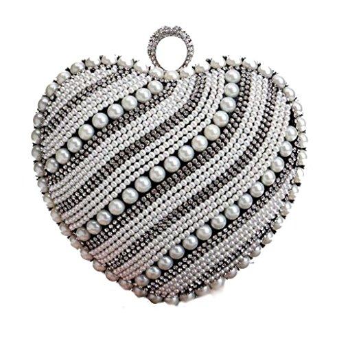Coeur Black Dame Sac Sac à De Perle Robe De Mariée De Main à Forme Soirée Banquet En Main Sac Douce Mode R8XrRq