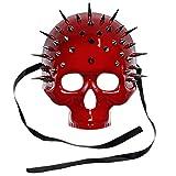 ILOVEMASKS Steampunk Spikes Skull Venetian Masquerade Half Face Mask - Glossy Red