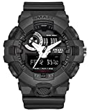 Boy Outdoor Sports Army Watch classic shock design clock With Waterproof Chronograph Dual Time EL Backlight (black)