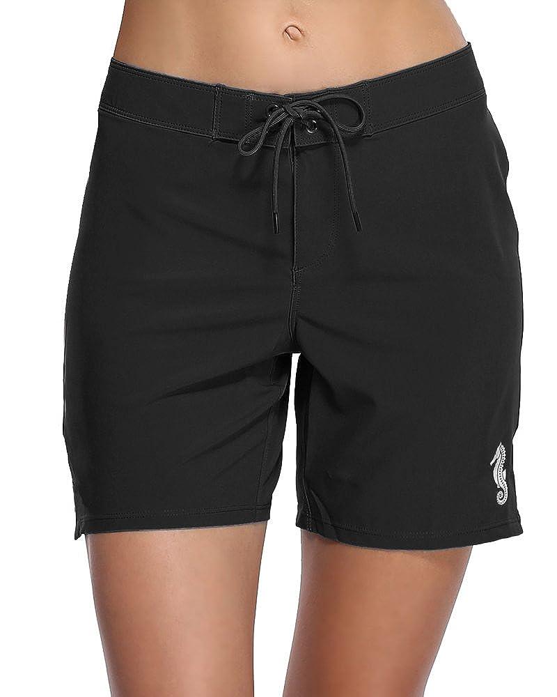 df10dca9a0 Sociala Women's Long Board Shorts with Pocket Quick Dry Swim Shorts  Boardshorts
