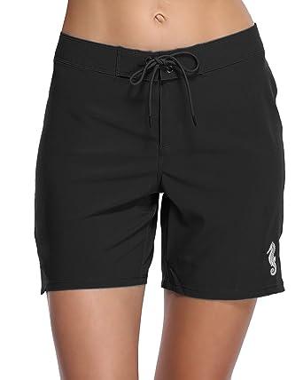 b385351311 Sociala Women's Long Board Shorts with Pocket Quick Dry Swim Shorts  Boardshorts