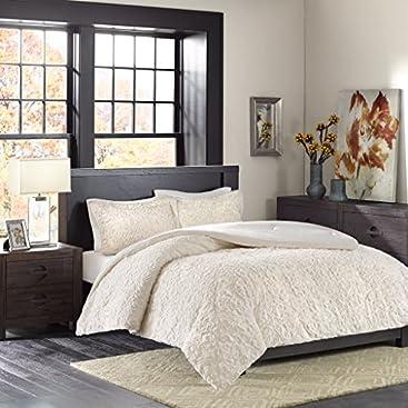 Madison Park Bismarck Full/Queen Size Bed Comforter Set - Ivory, Embroidered Medallion –