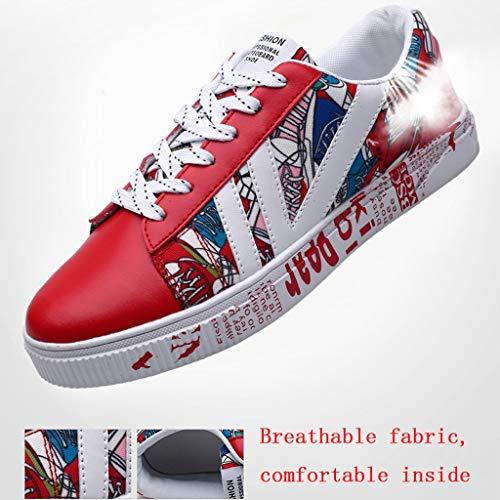 uomo scarpe Red Bianca da selvatici di tendenza casual tela da Size di scarpe Scarpe uomo Color 38 scarpe WangKuanHome tela traspirante estate bordo HcnTxPBgW