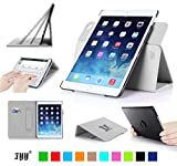 iPad Air 2 Case Cover, FYY Detachable Rotating Leather Case Smart Cover with Velcro Hand Strap and Card Slots for iPad Air 2 White (With Auto Wake/Sleep Feature)
