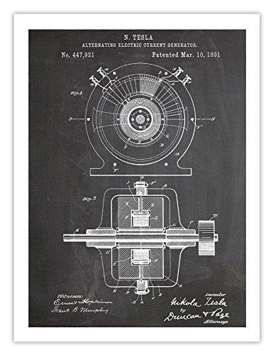 (Steves Poster Store TESLA ALTERNATING ELECTRIC CURRENT GENERATOR POSTER INVENTION BLACKBOARD 1891 US PATENT ART PRINT 18X24 NICOLA AC GIFT)