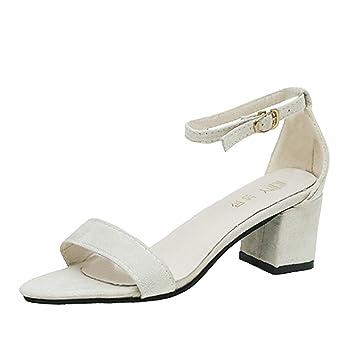 69dcbd3458f LuckyGirls Sandalias Mujer Chancleta Verano Moda Color Puro Cómodos Casual  Zapatos de Tacón 5.5cm Chanclas Zapatillas de Punta Abierta  Amazon.es   Deportes ...