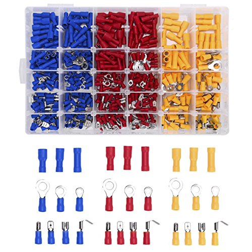 YIYATOO 480pcs Wire Terminals Electrical Connectors Crimp Terminals, Mixed Assorted Lug Kit Insulated Spade Wire Connector Crimp Terminal Spade Ring Set by YIYATOO (Image #3)