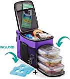 ZUZURO Lunch box Insulated cooler bag w/ 3 compartment - Includes 3 Meal Prep Containers - Detachable Shoulder Strap + 2 Ice Packs. Great for Work Office or Travel Lunch Bag (Purple)