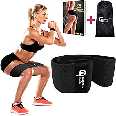 Magnetic Think Booty Bands Workout Resistance Hip Bands – Fabric Resistance Bands for Legs and Butt, Non Slip Hip Bands for Legs, Butt, Booty Building, Squats