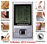 FDA cleared HealthmateForever massager 8 modes physiotherapy device + extra Bonus: 4 pcs large hand shaped pads, powered by rechargeable lithium battery, LCD display, auto shut off timer, *updated battery level indicator*, apply 4 pads to targeted areas such as both knees, shoulders, arms, shoulders, heels, hands… Portable Full Body hands-free therapeutic massage, foot ankle massager. Multi jobs: Pain Relief, Detox by Guasha, Body Building, Application at the abs, biceps, triceps, thighs, Sport Training, Workout, Sport Injury, Post Surgery Recovery or Rehab (Quality guarantee Lifetime Warranty), Health Care Stuffs