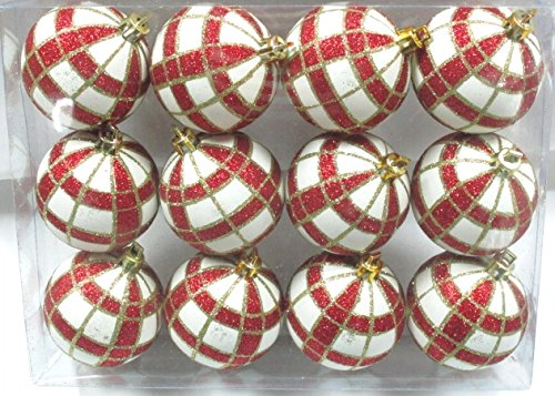 Queens of Christmas WL-ORN-12PK-PLD-RE 12 Pack Ball Ornament with Red and Gold Plaid Design, White (Plaid Christmas Ornaments)