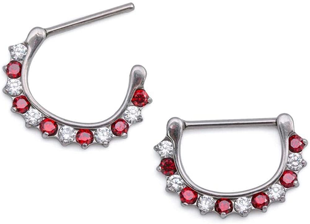 Painful Pleasures 14g Stainless Steel Nipple Ring with Red and White Crystal Peppermint Design /— Clicker Mechanism