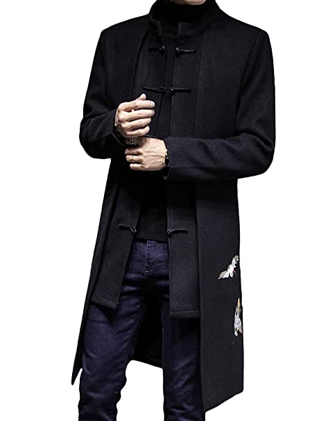 skilful manufacture 100% authenticated extremely unique Lavnis Men's Trench Coat Long Embroidery Tang Suit Woolen Overcoat
