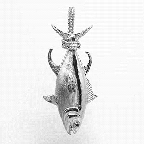 SURANO DESIGN JEWELRY 14.0g Sterling Silver Albacore Tuna Fish 3D Solid Pendant, Made in USA ()