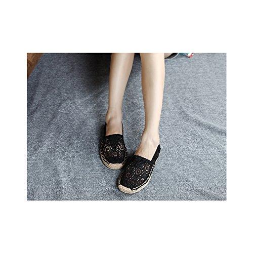 Mujer hueco zapatos casuales transpirable/Pone un pie comodos zapatos planos Negro