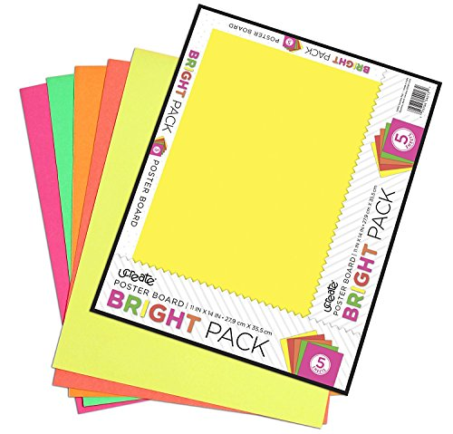 """U-Create Neon Poster Board, 11"""" x 14"""", Assorted Neon Colors, 5 Pack (614)"""