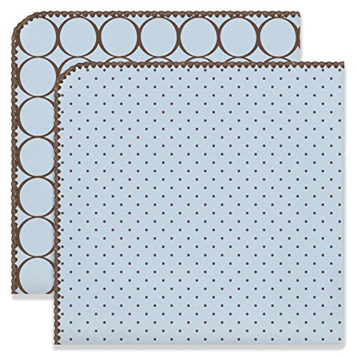 Mod Dot Circles - SwaddleDesigns Ultimate Swaddles, Set of 2, X-Large Receiving Blankets, Made in USA Premium Cotton Flannel, Mod Circles and Polka Dots, Pastel Blue (Mom's Choice Award Winner)