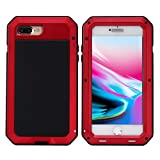Mangix iPhone 8 Plus Case,iPhone 7 Plus Case,Built-in Glass Metal Extreme Shockproof Heavy Duty Cover Shell Case Full Body Protection for Apple iPhone 8 Plus/7 Plus (Red)