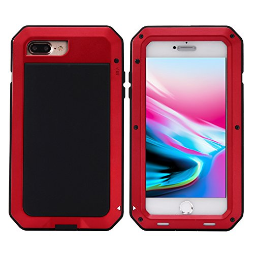 Mangix iPhone 8 Plus Case,iPhone 7 Plus Case,Built-in Glass Metal Extreme Shockproof Heavy Duty Cover Shell Case Full Body Protection for Apple iPhone 8 Plus/7 Plus (Red) ()