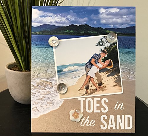 "Toes in the Sand Tropical Beach honeymoon wedding engagement family vacation gift handmade magnetic picture frame holds 5"" x 7"" photo 9"" x 11"" size"