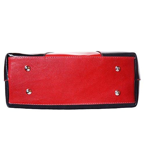 205 Deux Noir rouge Main Florence Et À Sac Market Leather Épaule Poignées Avec wwP8qCv