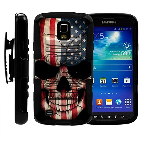 TurtleArmor | Compatible for Samsung Galaxy S4 Active Case | I9295 | I537 [Hyper Shock] Hybrid Dual Layer Armor Holster Belt Clip Case Kickstand - US Flag Skull