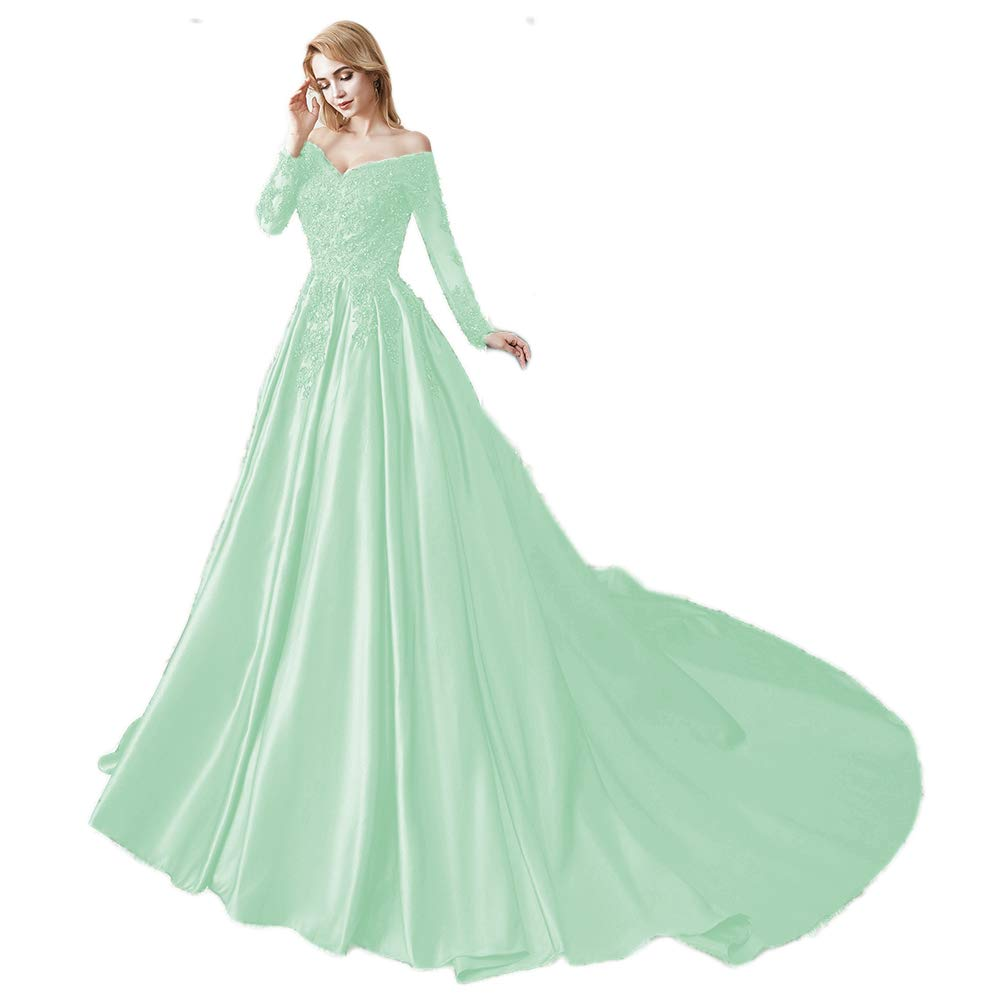 Mint Miao Duo Women's Long Sleeves V Neck Beaded Wedding Prom Dresses Off Shoulder Formal Ball Gown 86pM